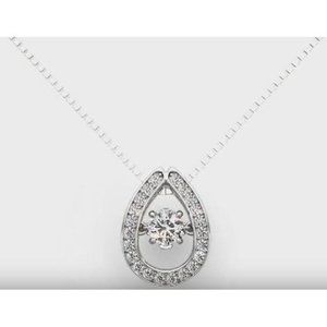 Round Diamond Pendant Necklace Solid White Gold 14